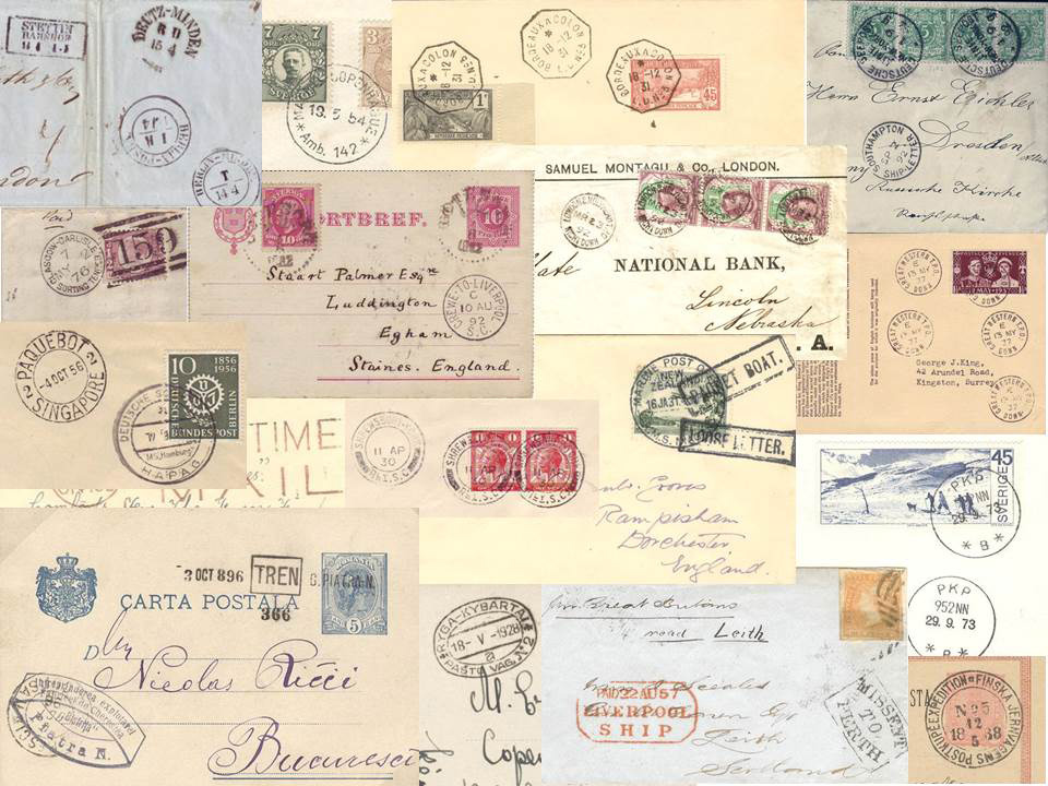 Collage of typical collectible TPO and maritime covers
