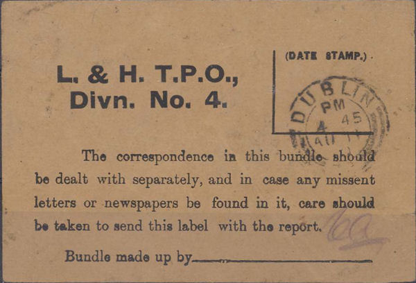 Bundle Label from the London and Holyhead TPO
