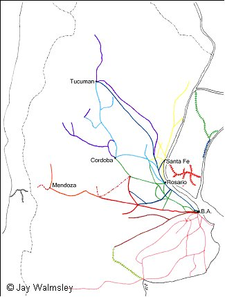 TPO Seapost Society The TPOs Of Argentina - Argentina rail network map