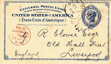 US Postal Card  with Liverpool Packet mark (Rob. P14) dated 1882